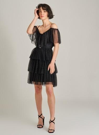 Agenda Simli Volanlı Tül Elbise Siyah